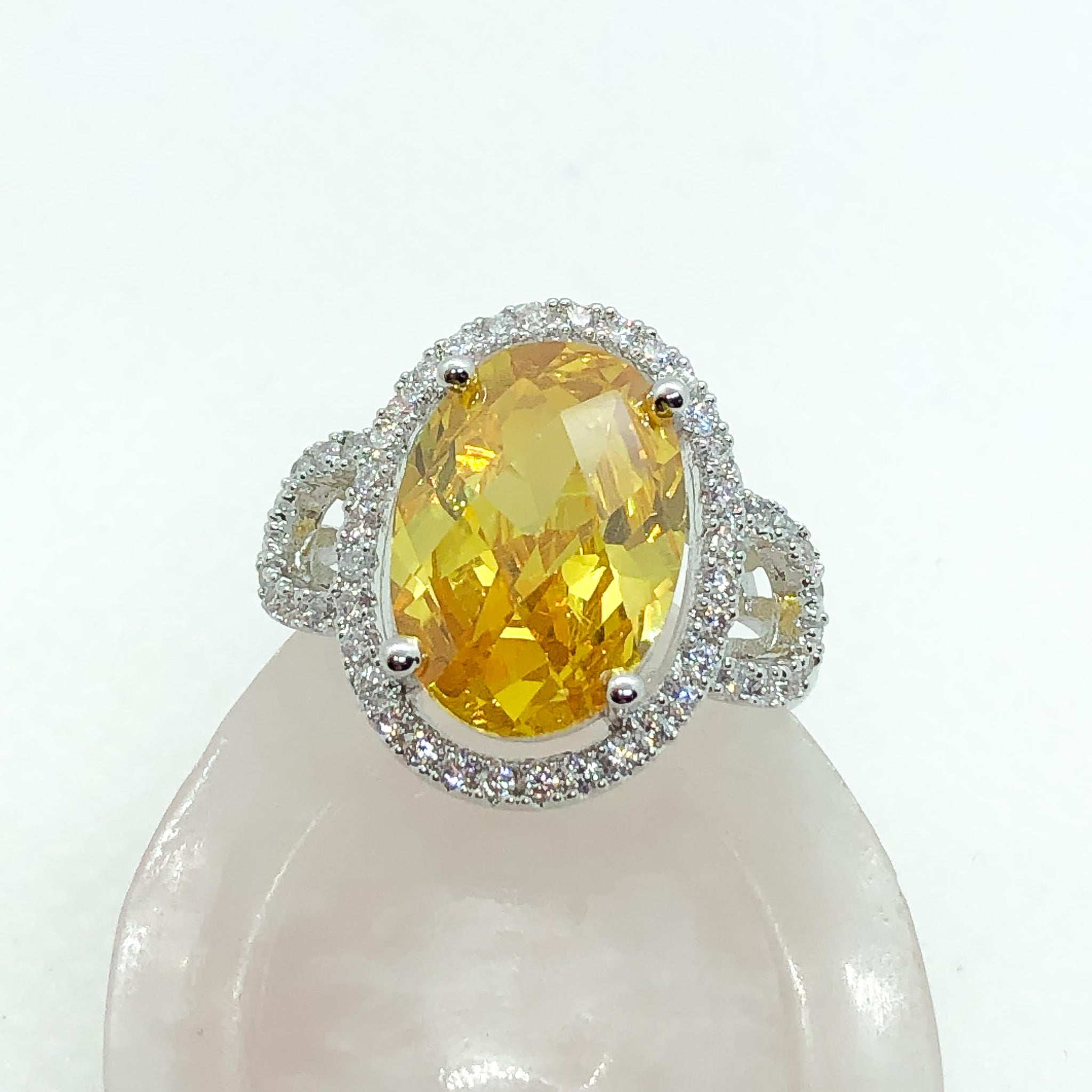 ID:R7545 Women Jewelry 18K White Gold GF Superior Eye-Catching Big Orange Center Stone Ring With Clear Round Accent