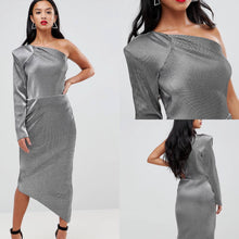 Load image into Gallery viewer, Glitz & Glamour One Sleeve Pencil Dress
