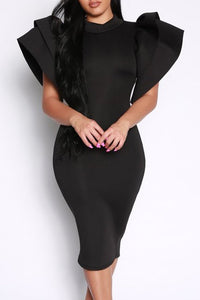 Power Puff Bodycon Midi Dress