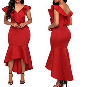 red ruffle high low mermaid dress