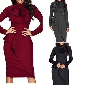 Precious Ruby Long Sleeve Midi Dress w Bow (Plus Size Available)