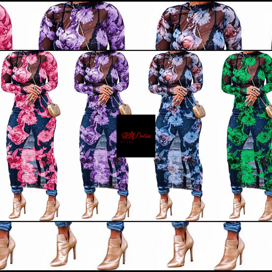 Floral Sheer Multi-Use Dress - Plus Size Available
