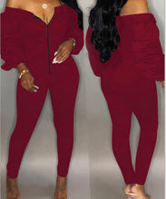 Load image into Gallery viewer, burgundy long dleeve bardot off the shoulder jumpsuit