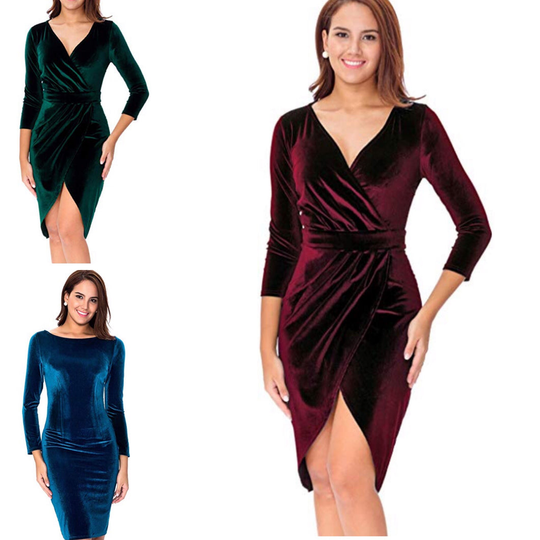 Hang on the Mistletoe Velvet Wrap Dress
