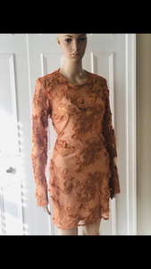 Sheer Appliqué Mini Dress - Size 12