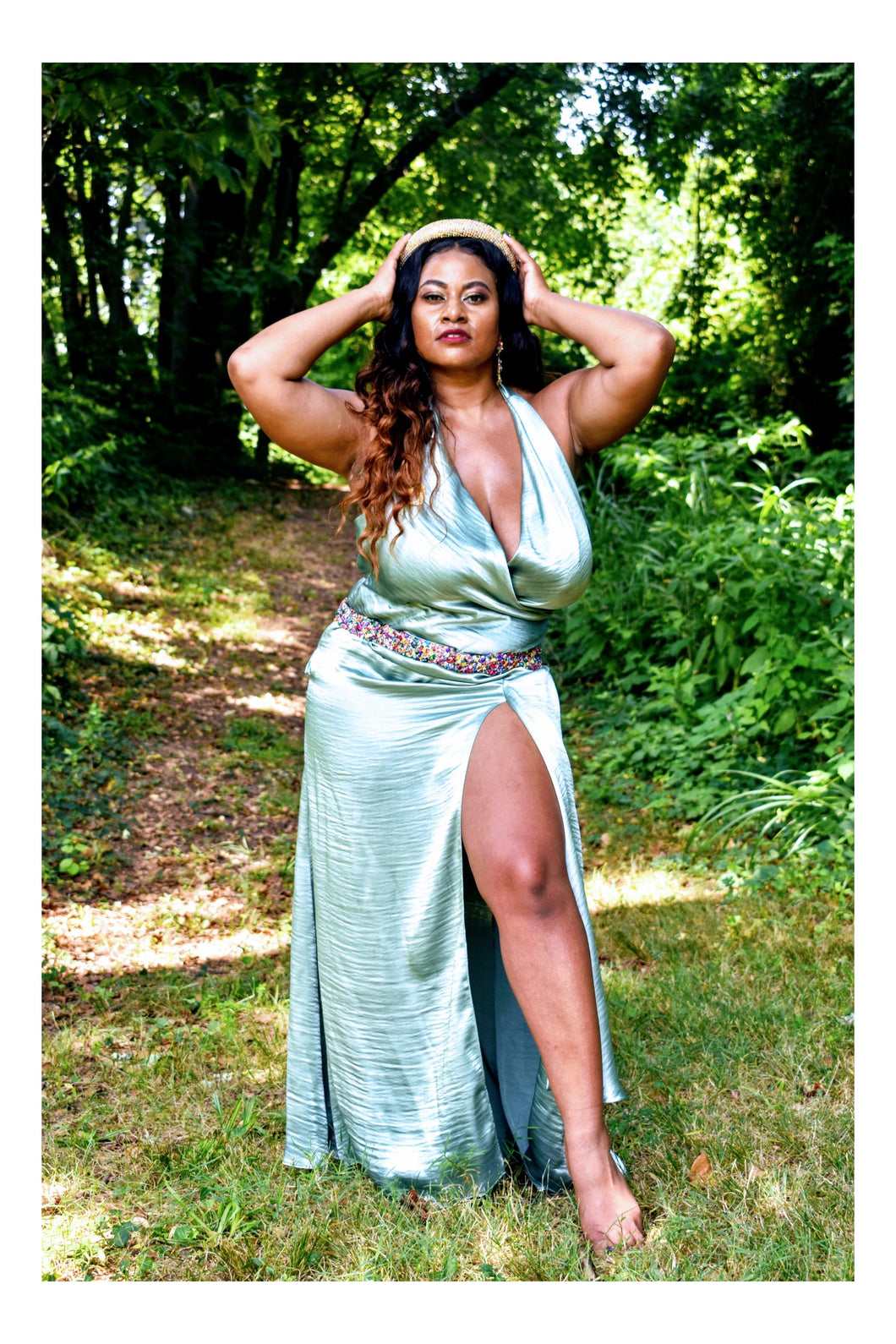Queen of Spades Satin Halter Maxi (Plus Size Available)