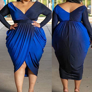 Blue Midnight Wrap Dress (Plus Size Only)
