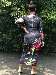 Graffiti Midi Bodycon (Plus Size Available)