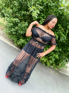 Jackie Off-the-Shoulder Sheer Maxi (Plus Size Available)