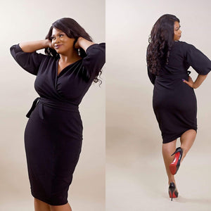 Just Peachy Wrap Dress (Plus Size Available)