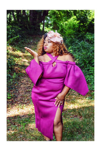 Queen of Kings Petal Sleeve Scuba Midi (Plus Size Available)
