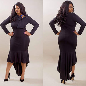 Highly Favored Long-Sleeve Fishtail Dress