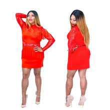Load image into Gallery viewer, Red Hottie Tottie Tassel Mini Dress