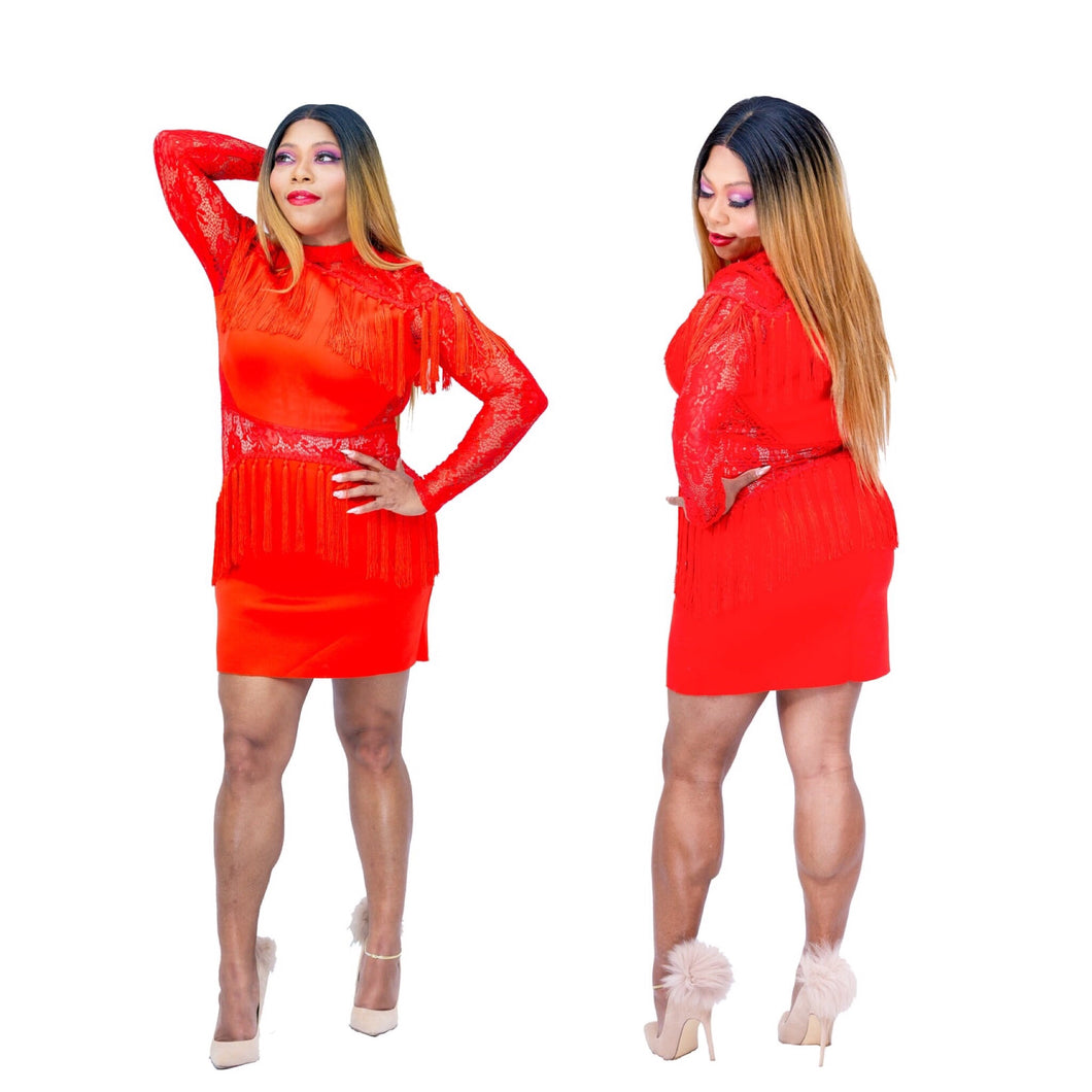 Red Hottie Tottie Tassel Mini Dress