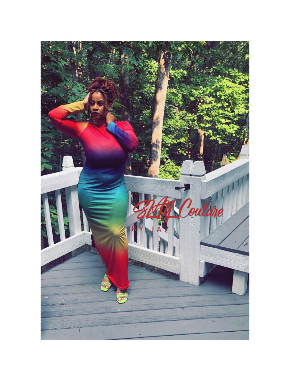 Rainbow Turtleneck Maxi (Closed Back)