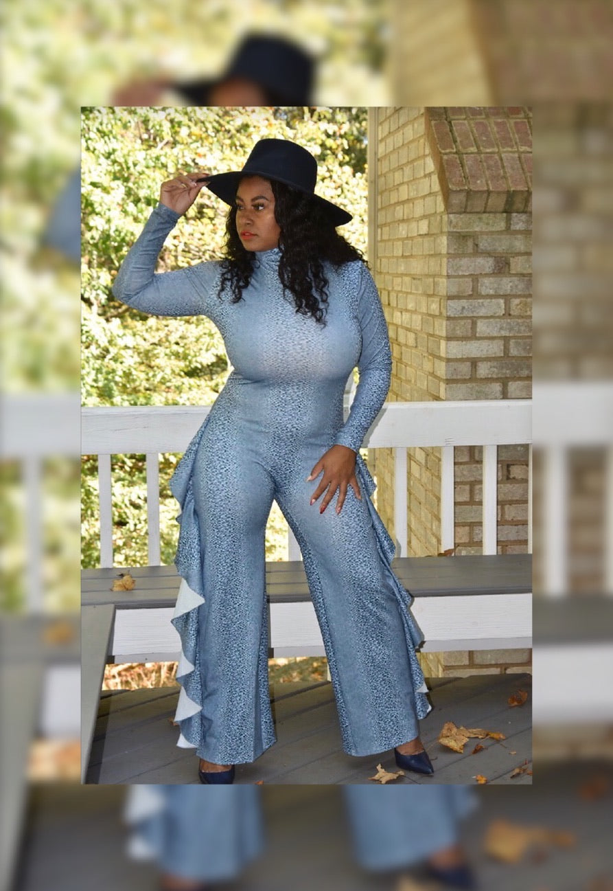Snakeskin Jumpsuit (Plus Size Available)