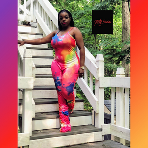 Tye Dye Ruching Jumpsuit - Plus Size Available (Pre-Order)