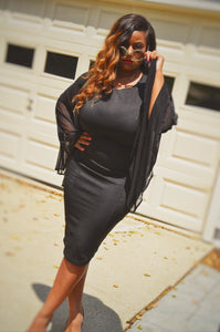 She is Sophisticated Sheer Sleeve Midi (Plus Size Available)