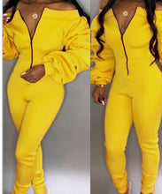 Load image into Gallery viewer, yellow bardot off the shoukder jumpsuit