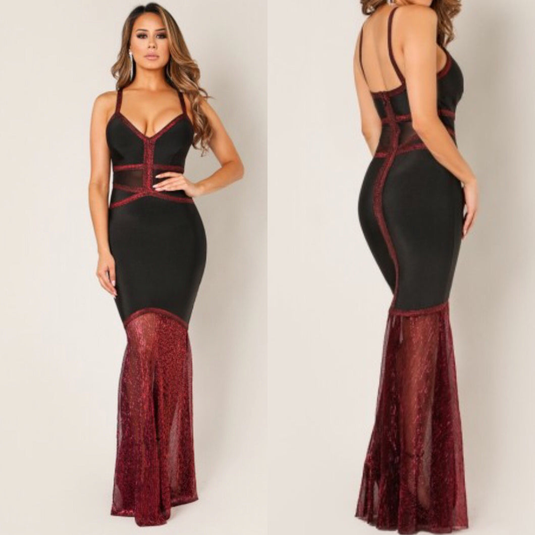 Mrs. Chris Kringle Maxi Bandage Dress