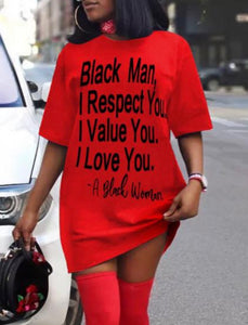 Dear Black Man T-Shirt Dress - Pre-Order (Plus Size Available)