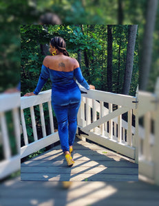 Velour Corset Jumpsuit (Plus Size Available)