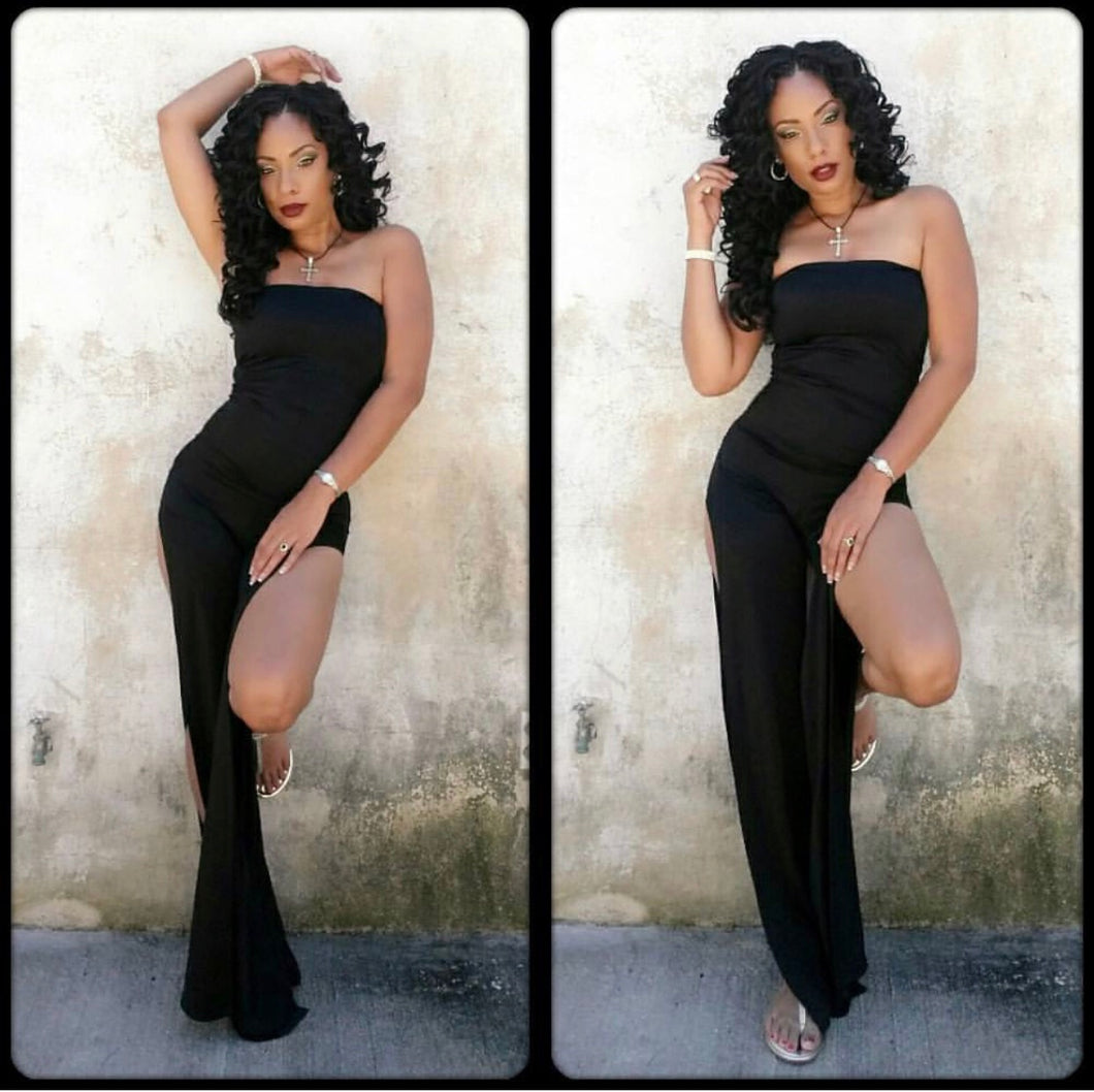 Beauty Strapless Jumpsuit w/ Split Legs
