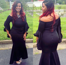 Load image into Gallery viewer, black off the shoulder bell sleeve maxi mermaid dress