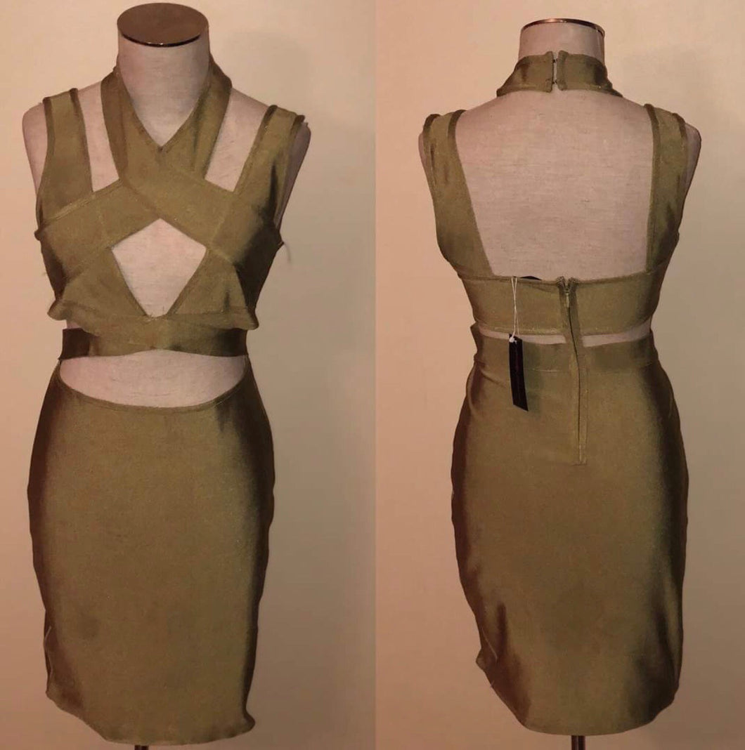 SLAY Consignment - Olive Cut-Out Bandage Mini Dress
