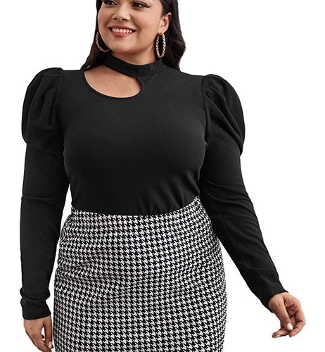 Puff Sleeve Keyhole Top (Plus Size Available)