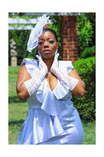 Load image into Gallery viewer, Queen of Diamonds Scuba Ruffle Midi (Plus Size Only)