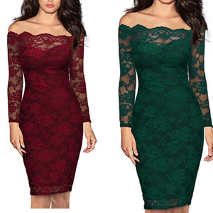 Santa's Helpers Lace Off the Shoulder Midi