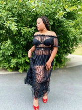 Load image into Gallery viewer, Jackie Off-the-Shoulder Sheer Maxi (Plus Size Available)