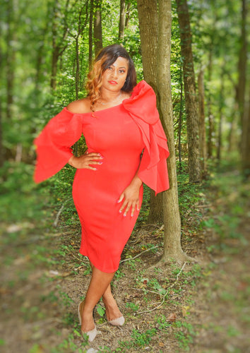 She is Passionate Petal Sleeve Midi Dress (Plus Size Available)