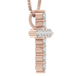 14K-18k Rose Gold Prong Set Natural Diamond Cross Pendants-P-589