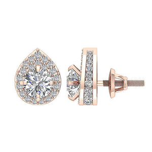 Removable Jacket Halo Solitaire Stud Earring Rose Gold-DE173-1