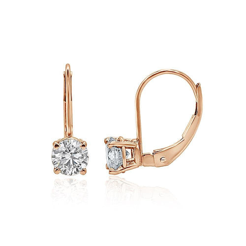 Lever Back Solitaire Studs Earrings 14k/18k Rose Gold Round Diamonds I1 G 0.80 Ct
