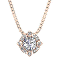 Load image into Gallery viewer, Halo Cluster Pendants 14k/18k White Yellow Rose Gold Natural Diamonds SI1/I1 G 0.65 Ct