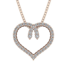 Load image into Gallery viewer, Heart Pendants Round Cut Diamonds 14k/18k White Yellow Rose Gold I1 G 0.50 Ct