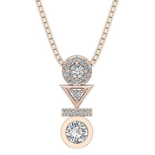 Load image into Gallery viewer, Prong And Bezel Setting Rose Gold Pendants-DP403
