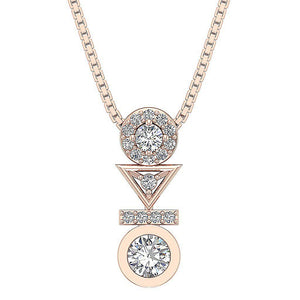 Prong And Bezel Setting Rose Gold Pendants-DP403