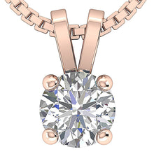 Load image into Gallery viewer, Prong Set 14K-18k Rose Gold Pendants-DP81-0.50-2