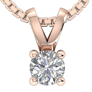 Solitaire Pendants 14k/18k Solid White Gold I1 G 0.25 Ct Natural Diamonds Prong Set Width 4.00 MM