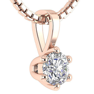 Solitaire Pendants 14K-18k Rose Gold Anniversary's gift-DP90-0.25-8