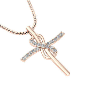 Designer Cross Pendants 14K-18k Rose Gold-P-764