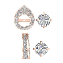 Load image into Gallery viewer, Removable Jacket Halo Solitaire Stud Earring Rose Gold-DE173-14