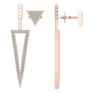 Prong Set 14K-18k Gold Removable Jacket Earring-E-780-14