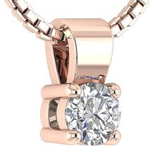 Load image into Gallery viewer, 14k/18k White Yellow Rose Gold Solitaire Pendants I1 G 0.25 Ct Natural Diamonds Prong Set 3.75 MM
