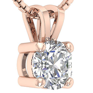 14k/18k White Yellow Rose Gold I1 G 1.00 Ct Solitaire Pendants Round Cut Diamonds Prong Set 6.29 MM