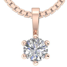 Load image into Gallery viewer, Solitaire Pendants Prong Set 14K-18k Rose Gold-DP90-0.25-2